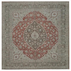 Square Antique Hand Knotted Persian Tabriz Rug