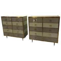 Pair of Italian Mid-Century Glass and Brass Chest of Drawers