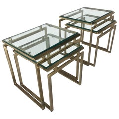 Pair of Mid Century Brass and Glass Nesting Tables