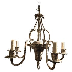 Five Light Hammered Silver Chandelier or Light Fixture, 20th Century