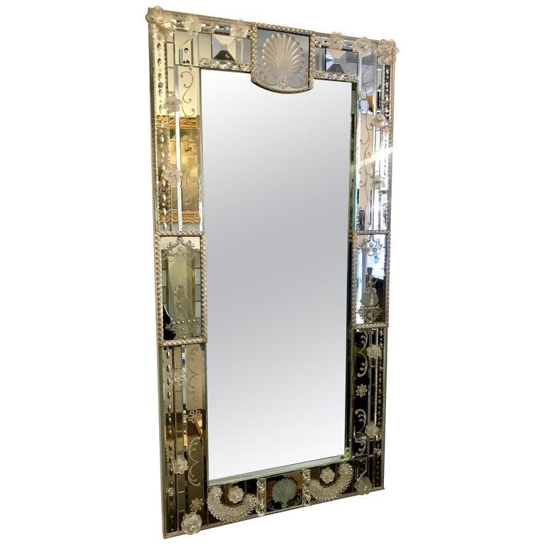Stunning  Mid-Century Venetian Mirror For Sale