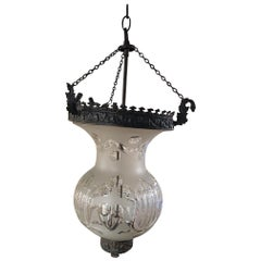 Smoked Bell Lantern with Oxidized Finish and Frosted Glass, 20th Century