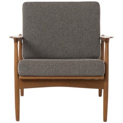 Danish Modern Lounge Chair with Rattan Back and Soft Wool Flannel Cushions