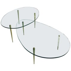 Pair of Midcentury High/Low Italian Brass and Glass Coffee Tables