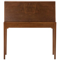 Transitional Modern Scandinavian Cuban Mahogany Secretary