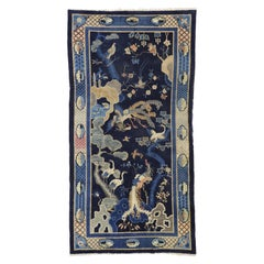Antique Chinese Pictorial Baotou Rug with Art Deco Style, Bai Niao Chao Feng Rug