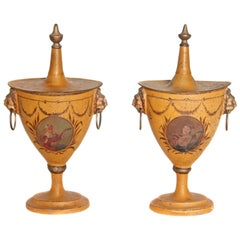 Pair of English Regency Tole Painted Chestnut Urns