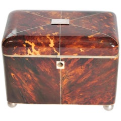 Early 19th Century English Regency Tortoiseshell Tea Caddy