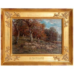 19th Century Oil Painting of Sheep Signed James Desvarreux