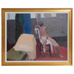 Contemporary Oil on Canvas of a Nude in an Interior Seated on a Chair