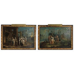 Pair of 18th Century Italian Venetian Oil on Canvas Paintings