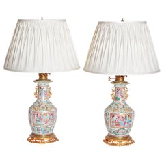 Pair of 19th Century Chinese Rose Medallion Vases Mounted as Lamps