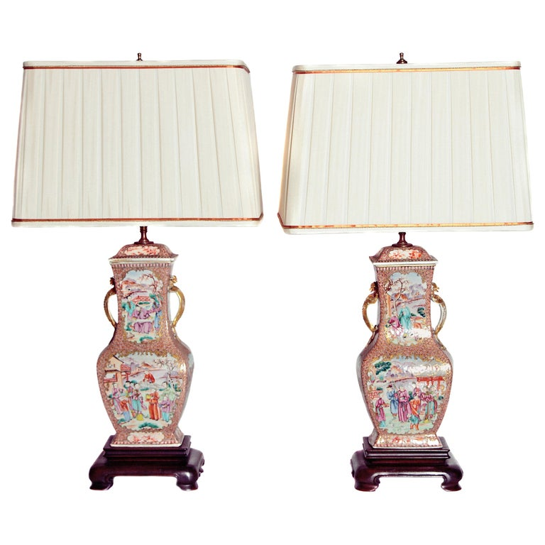 Pair of Early 19th Century Chinese Export Rose Mandarin Porcelain Jars as Lamps For Sale
