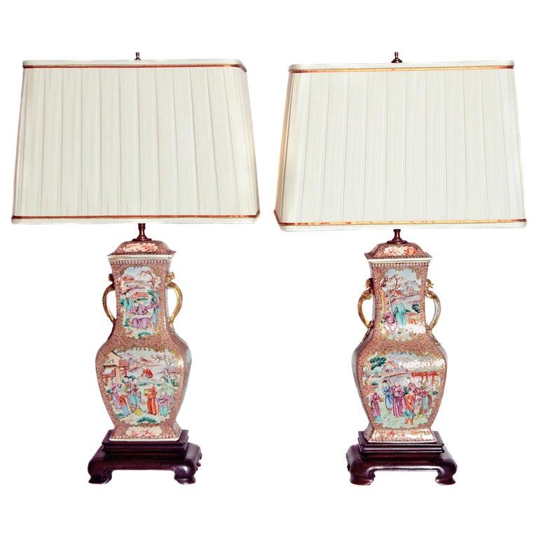 Pair of Early 19th Century Chinese Export Rose Mandarin Porcelain Jars as Lamps 1