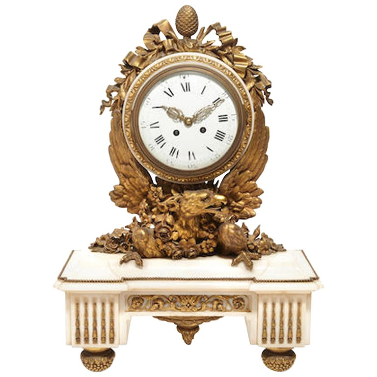 French Ormolu Marble Mantel Clock, 19th Century For Sale