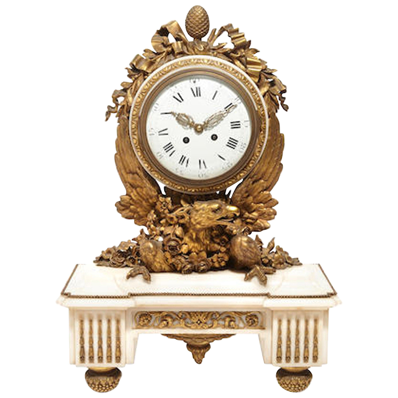 French Ormolu Marble Mantel Clock, 19th Century