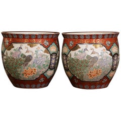 Pair of Early 20th Century Chinese Painted and Gilt Porcelain Cache Pots