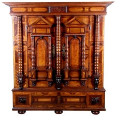 Renaissance Early Baroque Façade Cabinet, 17th Century Walnut