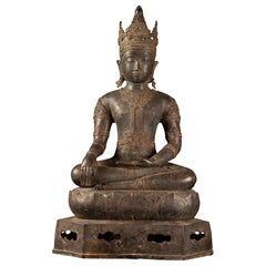 Royal Antique Bronze Buddha with Imperial Attire, Fine Details, 18th Century