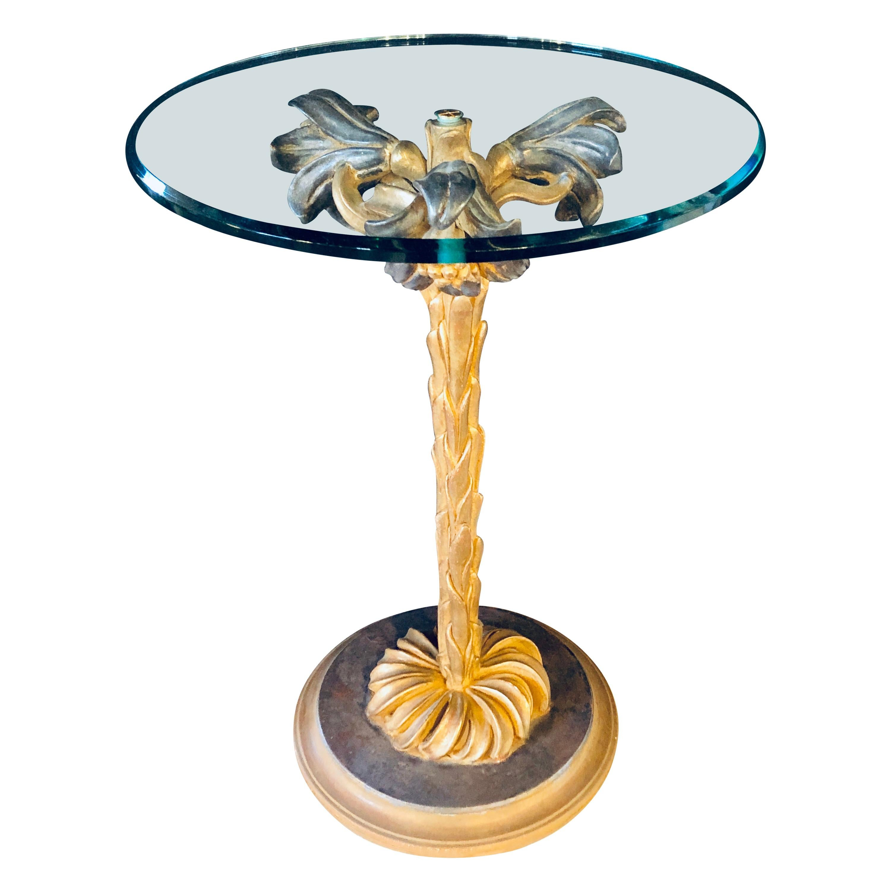 Diminutive Italian Glass Top Palm Tree Form End or Side Table or Candle-Stand
