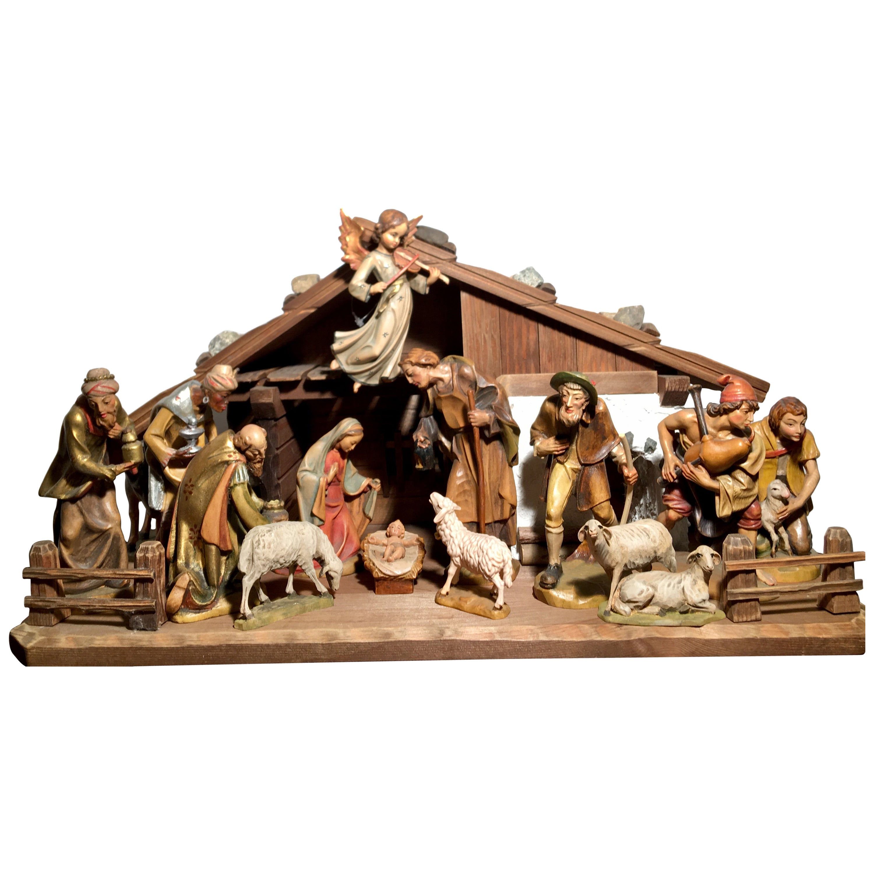 Finest Quality Italian Nativity Set Hand Carved Wood 16 Piece Oswald