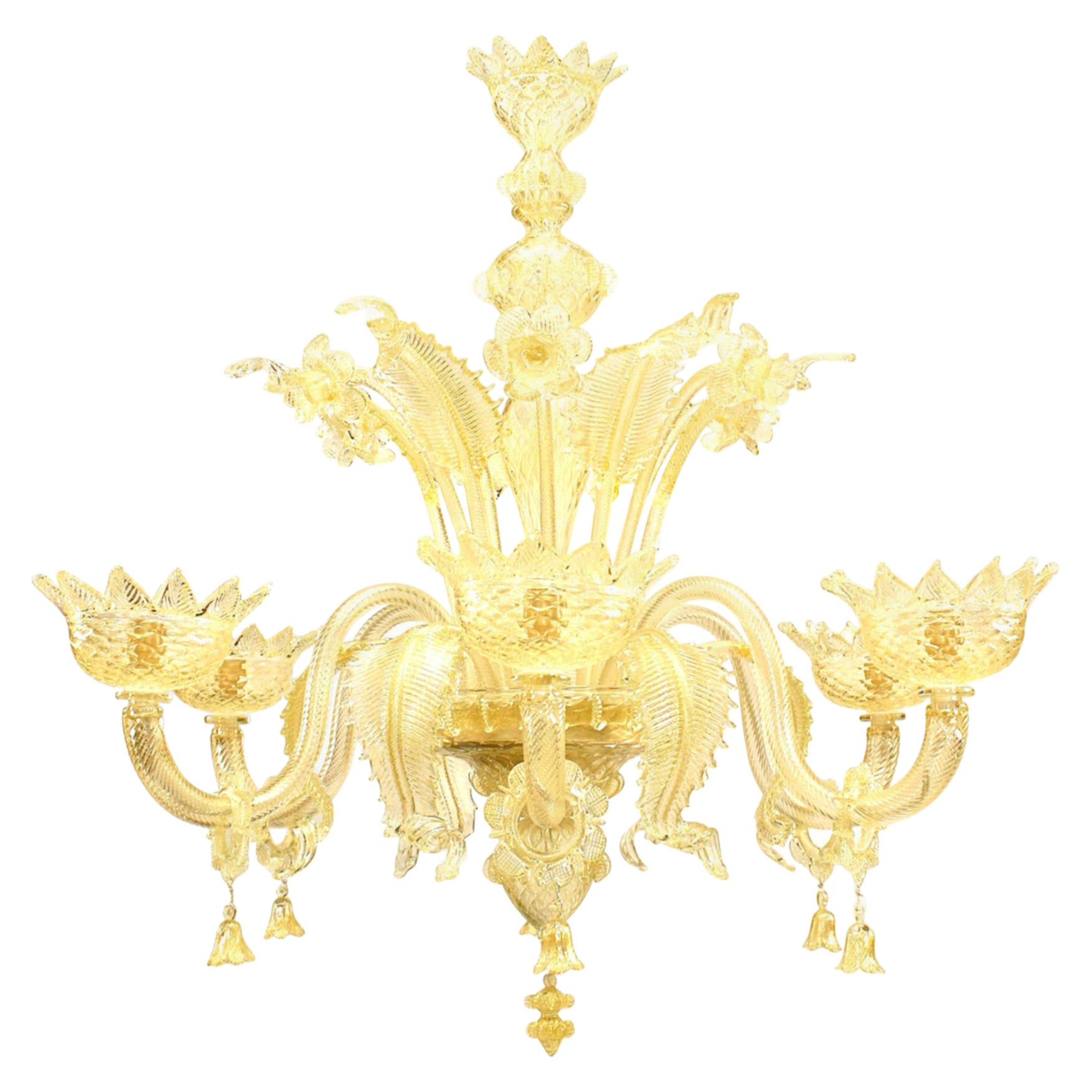 Italian Venetian Murano Gold Dusted Glass Chandelier