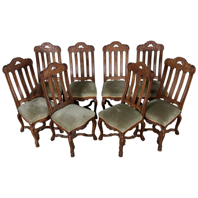 8 Baroque Chairs Liège 18th Century Oak For Sale