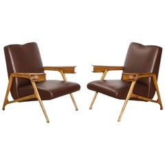 Architectural Lounge Chairs Attributed to Augusto Romano