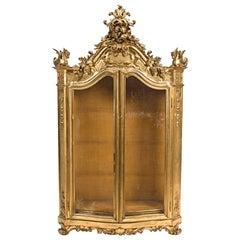 Italian Rococo Style Giltwood Vitrine Cabinet, 19th Century