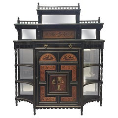 English Aesthetic Movement Painted Cabinet, 19th Century