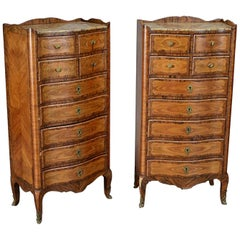 Pair of French Louis XV Style Tall Chests Semainier, 19th Century