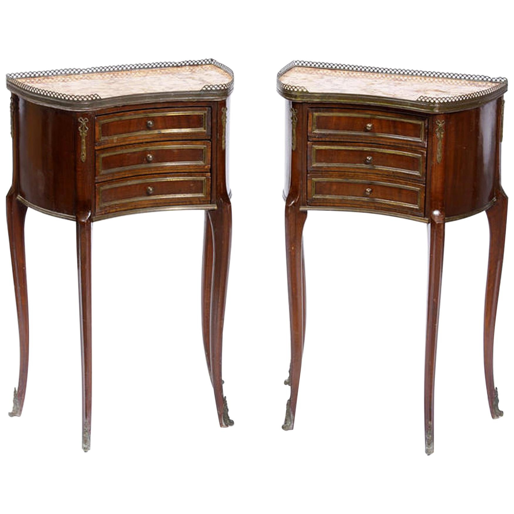 Pair of French Gilt Bronze Mounted Nightstands, 19th Century