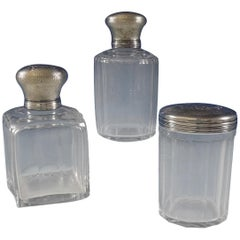 Christofle Sterling Silver Dresser Jar Set of 3-Piece Two Round and One Square