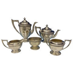 Durgin Sterling Silver Tea Set West Point 1919 5-piece with Acanthus Leaf Border