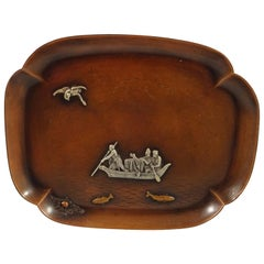 Mixed Metals by Gorham Sterling Silver Tray with Fisherman Applied Bird Fish