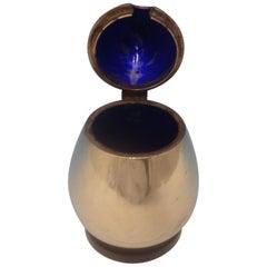 Evald Nielsen Danish Sterling Silver Mustard Pot with Cobalt Blue Enamel