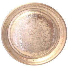 Antique Hammered by Whiting Sterling Silver Round Tray Acid Etched