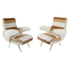 Pair of Mid-Century Modern Italian Chairs Upholstered in Textured Wool Fabric
