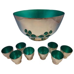 Towle Sterling Silver Punch Bowl and Cups with Turquoise Enamel