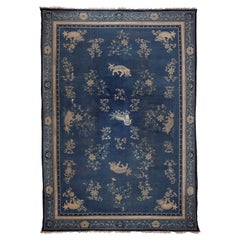 Ningshia, Chinese Export, Hand Knotted Wool, Antique Rug, circa 1890