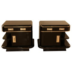 Art Deco Nightstands, Black Lacquer, France, circa 1930