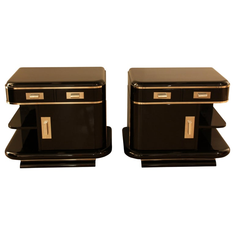 Art Deco Nightstands, Black Lacquer, France, circa 1930 For Sale