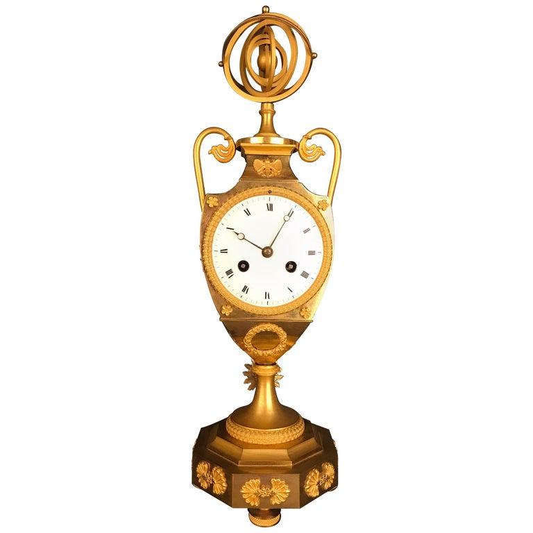 Unique Empire Bronze Clock, Pendulum, Fire-Gilded, circa 1810 1