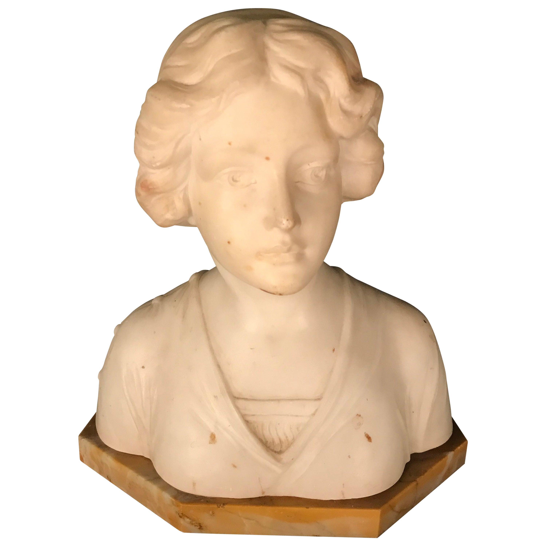 Art Nouveau Bust of a Young Lady Sculpture 1900 Latour