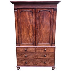 19th Century William IV Mahogany Linen Press