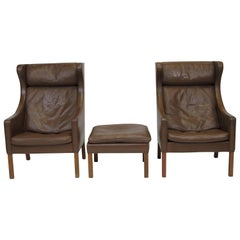 Borge Mogensen Model 2204 Highback Brown Leather Lounge Chairs with Ottoman
