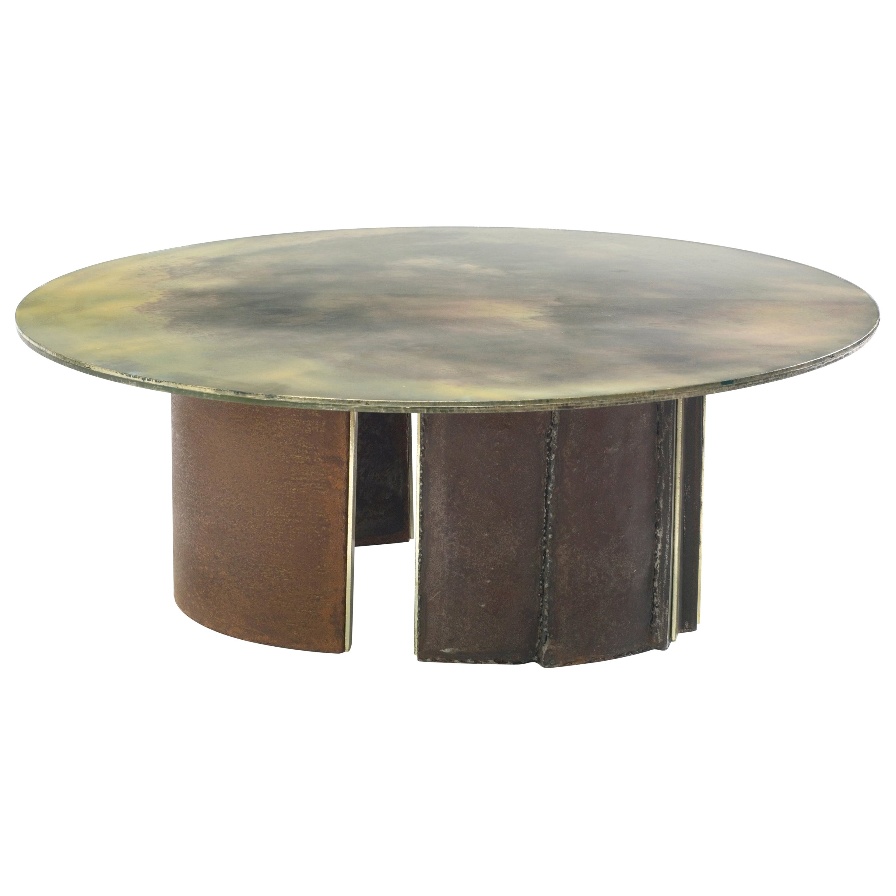 Brutalist Inspired Coffee Table with Hand-Silvered Glass Top and Metal Base