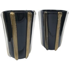 Pair of Black Murano Glass Vases with Gold Detailing