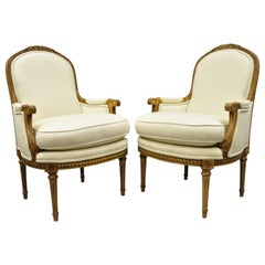 Pair of French Louis XVI Style Upholstered Bergere Armchairs Greenbaum Interiors