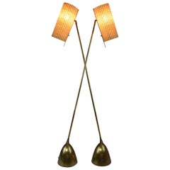 Equilibrium-V Contemporary Articulating Brass Rattan Floor Lamp, Flow Collection